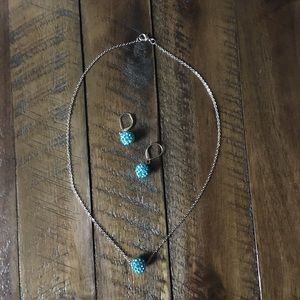NWT! Turquoise & Silver Rhinestone Necklace